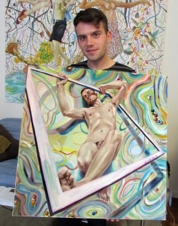 model and painting, Reframing 12 by Claudio Bindella