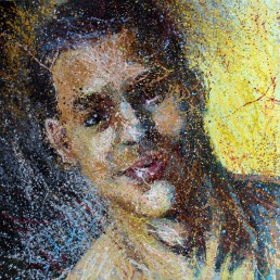Yellow painting portrait by Claudio Bindella