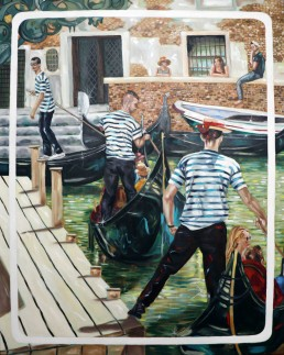 Gondoliers1, painting by Claudio Bindella