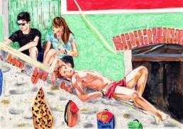 Riomaggiore, drawing by Claudio Bindella