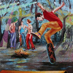 Skaters night painting by Claudio Bindella