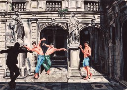 Dancing in Venice 4, drawing by Claudio Bindella