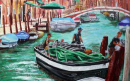 La barca dei tubi, painting by Claudio Bindella
